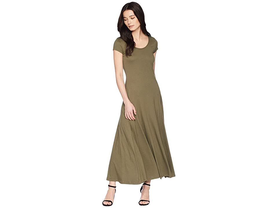 LAUREN Ralph Lauren Petite Jersey Scoop Neck Maxi Dress (Sage Moss) Women