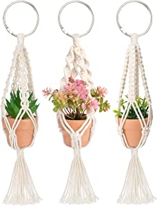 Macrame Plant Hangers, 3 Pcs Plant Hangers with Artificial Succulent Plants, Rear View Mirror Accessories by MoHern