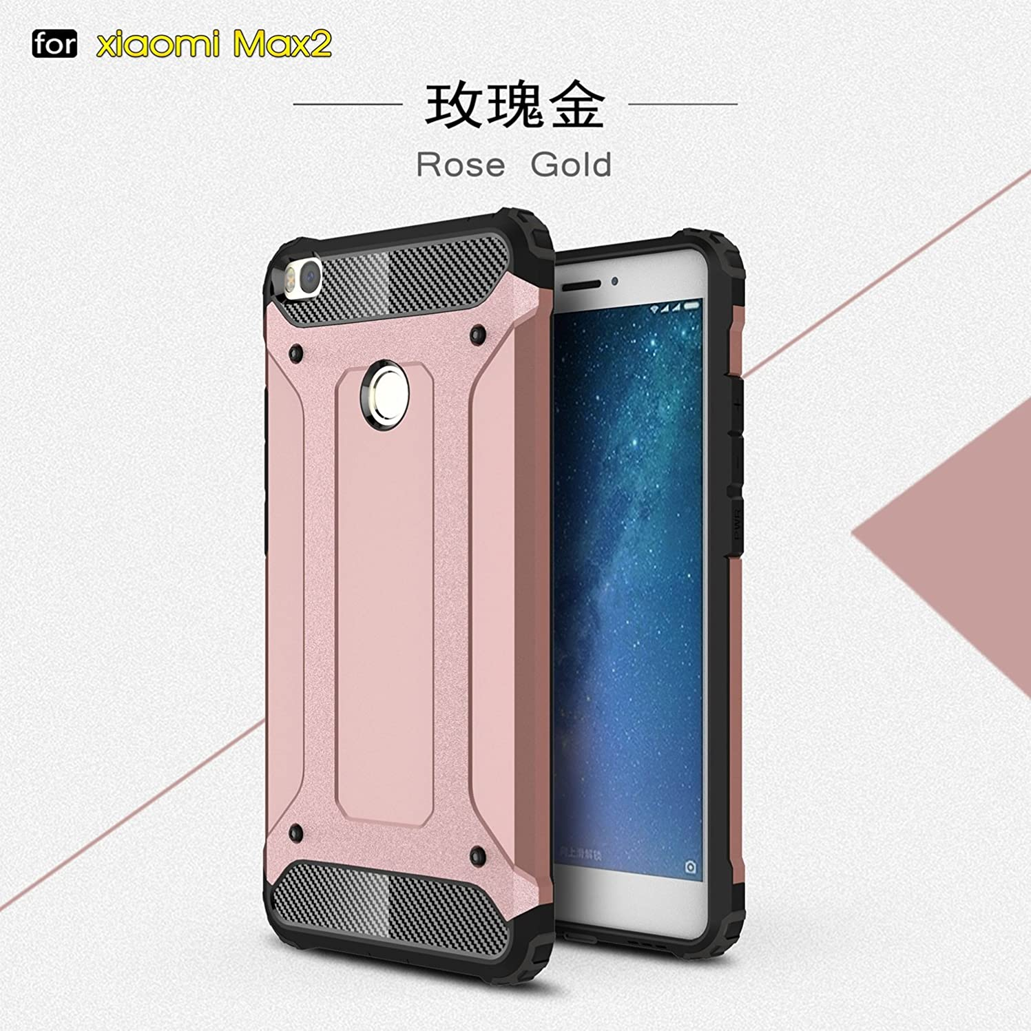彼女の自分自身貯水池Yhuisen Xiaomi Mi Max2ケース用デュアルレイヤーヘビーデューティーハイブリッドアーマーターフスタイルショックプルーフPC + TPU保護ハードケース (Color : Rose Gold)