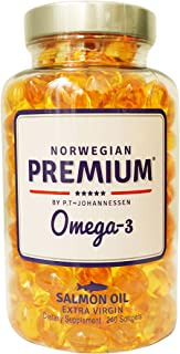 Norwegian Premium Omega-3 by P.T-Johannessen Ultra Fresh not from Concentrate Burpless Fish Oil. Made in Norway. (240 Caps...