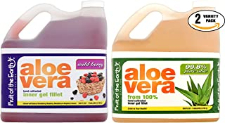 Fruit of the Earth Variety Special! Wild Berry Aloe Vera Juice, Aloe Vera Juice With 99.8% Aloe, 128 Fl. Oz. Jug (1 x 2 Flavors, Total of 2 Jugs)