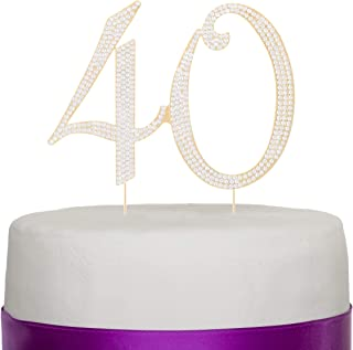 Ella Celebration 40 Cake Topper for 40th Birthday Party or Anniversary Gold Crystal Rhinestone Number Decoration (Gold)
