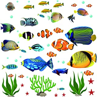 Fish Wall Stickers Under The Sea Decorative Wall Decals Coral Reef Fish Wall Stickers Peel and Stick Starfish Wall Art Sticker Decals for Kids Nursery Bedroom Living Room