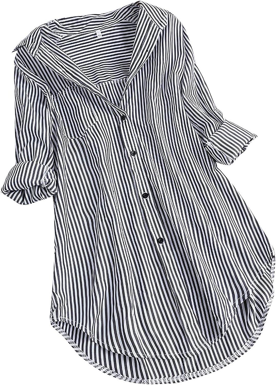 Women's Stripe Cotton Linen Blouses Tops Button Down Long Sleeve Shirts Dresses