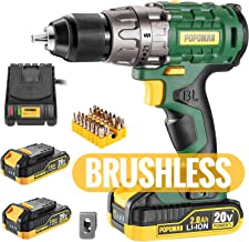 "Cordless drill, Brushless 20V 1/2"" Drill Driver, 2x2000mAh Batteries, 530 In-lbs.."
