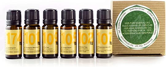 Naissance Aceites Esenciales 100 % Puros Set Regalo – Aceites esenciales top 6: lavanda, naranja dulce, lemongrass, menta, árbol de té y eucalipto - Regalo ideal para alguien especial
