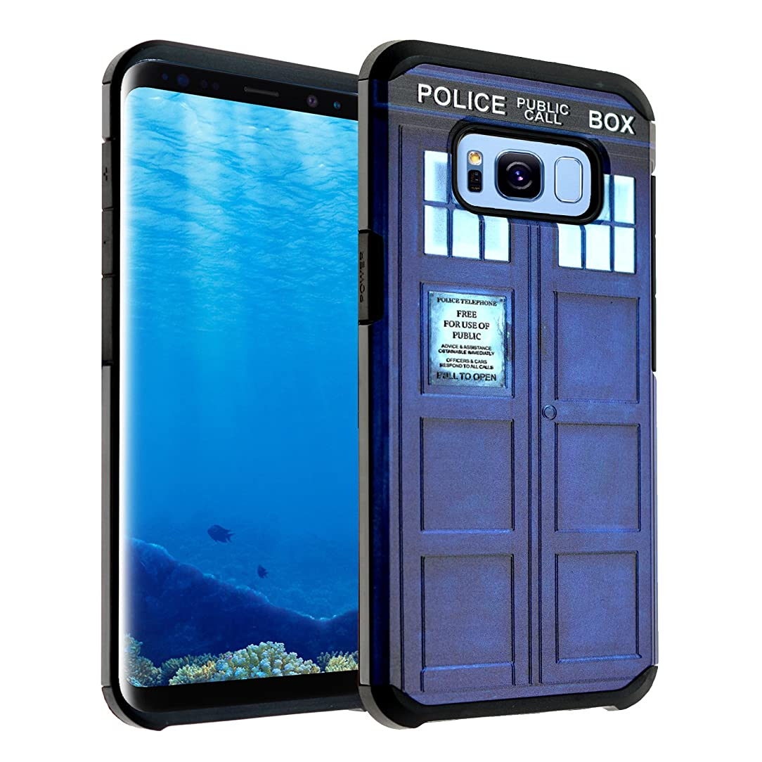 Galaxy S8 Case, IMAGITOUCH 2-Piece Style Slim Fit Armor Case with Dual Layer Protective Cover Air Cushion Design Tardis Doctor Who Blue Police Box for Samsung Galaxy S8 Dr. Who Hybrid