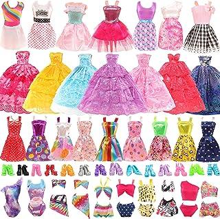 Funlight 27 PCS Girl Doll Clothes and Accessories 2 Party Wedding Dress 6 Fashion Dress 3 Swimsuit Bikini 6 Mini Dress 10 ...