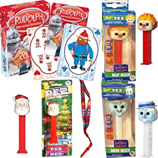 X-mas Year Without Santa Toys Christmas Favorites Heat Miser & Snow Miser Figure Pez Heads Bundled with Rudolph The Red-Nosed Reindeer Playing Cards Abominable Snowman Holiday Fun + Lanyard 5 Items