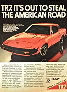 1976 Vintage Print Ad for Triumph TR7 | It's Out to Steal The American Road