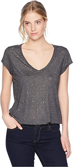 Star Studded Short Sleeve V-Neck