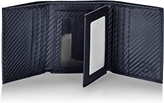 Stealth Mode Carbon Fiber Trifold RFID Wallet For Men With Flip Out ID Holder (Carbon Fiber)