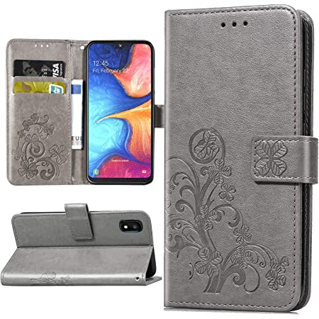Halnziye Case for Samsung Galaxy A10E, Magnetic Closure Soft TPU Flip Leather Wallet Phone Case with Kickstand Card Slots Designed for Samsung Galaxy A10E Cover (Grey)
