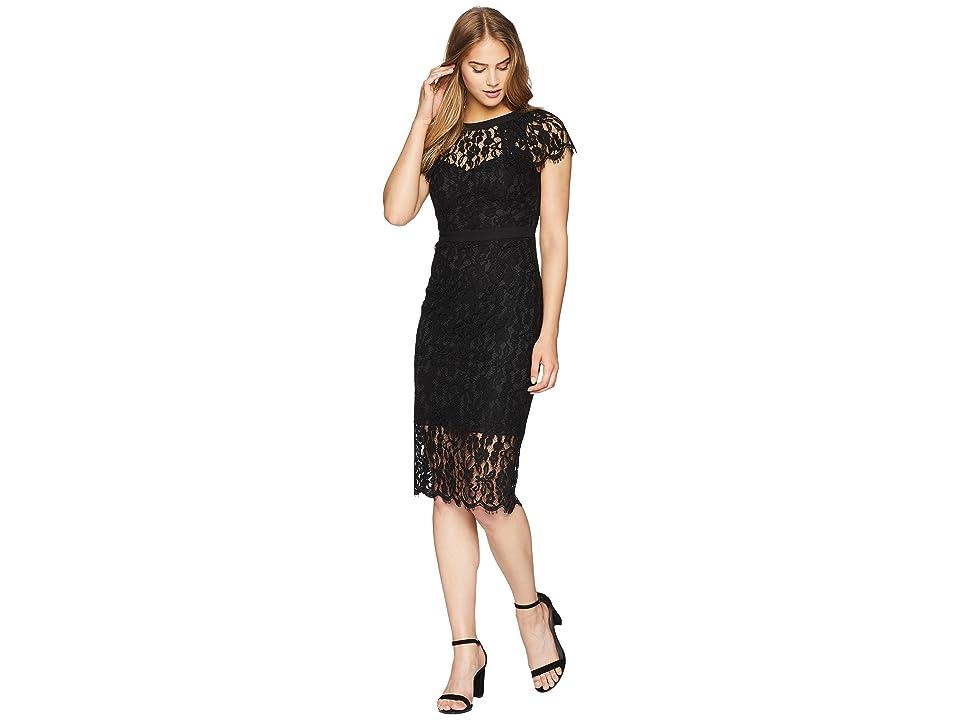 Bebe Cap Sleeve Lace Midi Dress (Black) Women