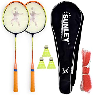 Sunley Swag Wide Body Badminton Pack of 2 Piece,3 Piece Plastic Shuttle, 1 Piece Cover and 1 Piece Net