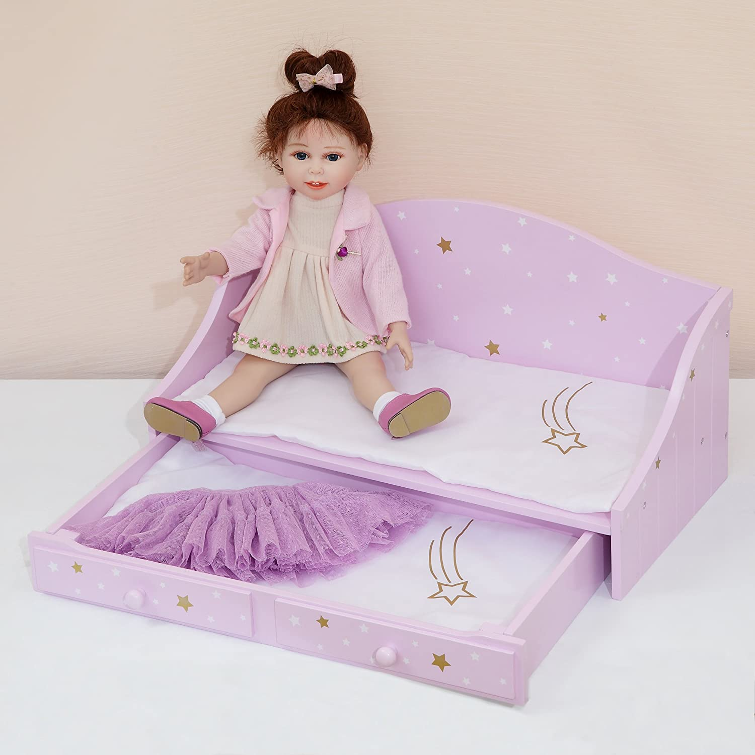 Olivia's Little World 18  Doll Furniture Trundle Bed, Purple gold, 21.5  x 10.5  x 10.5