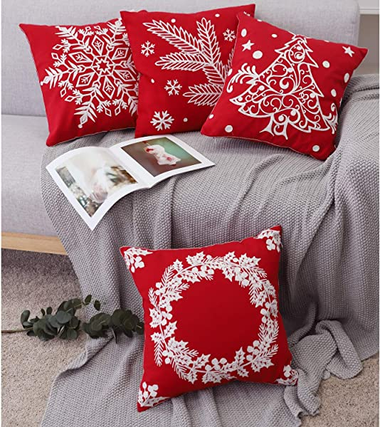 Lewondr Embroidery Throw Pillow Cover Set Of 4 Modern Geometric Pattern Cotton Throw Pillow Case Square Back Cushion Shell For Couch Car Bed Room Home Christmas 18 X 18 Inch Red White