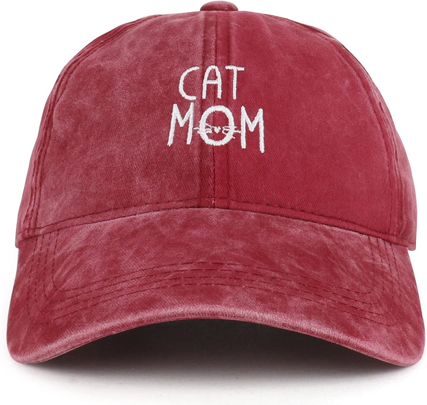 Trendy Apparel Shop Cat Mom Text Embroidered Washed Cotton Baseball Cap
