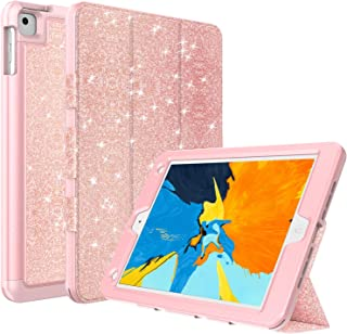 ACKETBOX Case for iPad 9.7 2018,iPad 9.7 2017,iPad Air/Air 2 Case,Glitter Bling Folio Folding Stand Holder Luxury Faux Leather PC Back Case and TPU Cover+BumperFull Body Protective Cover(Rose)