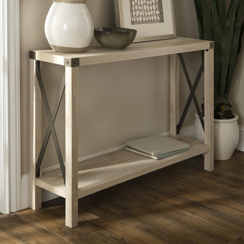 WE Furniture AZF46MXETWO Entryway Table 46  White Oak