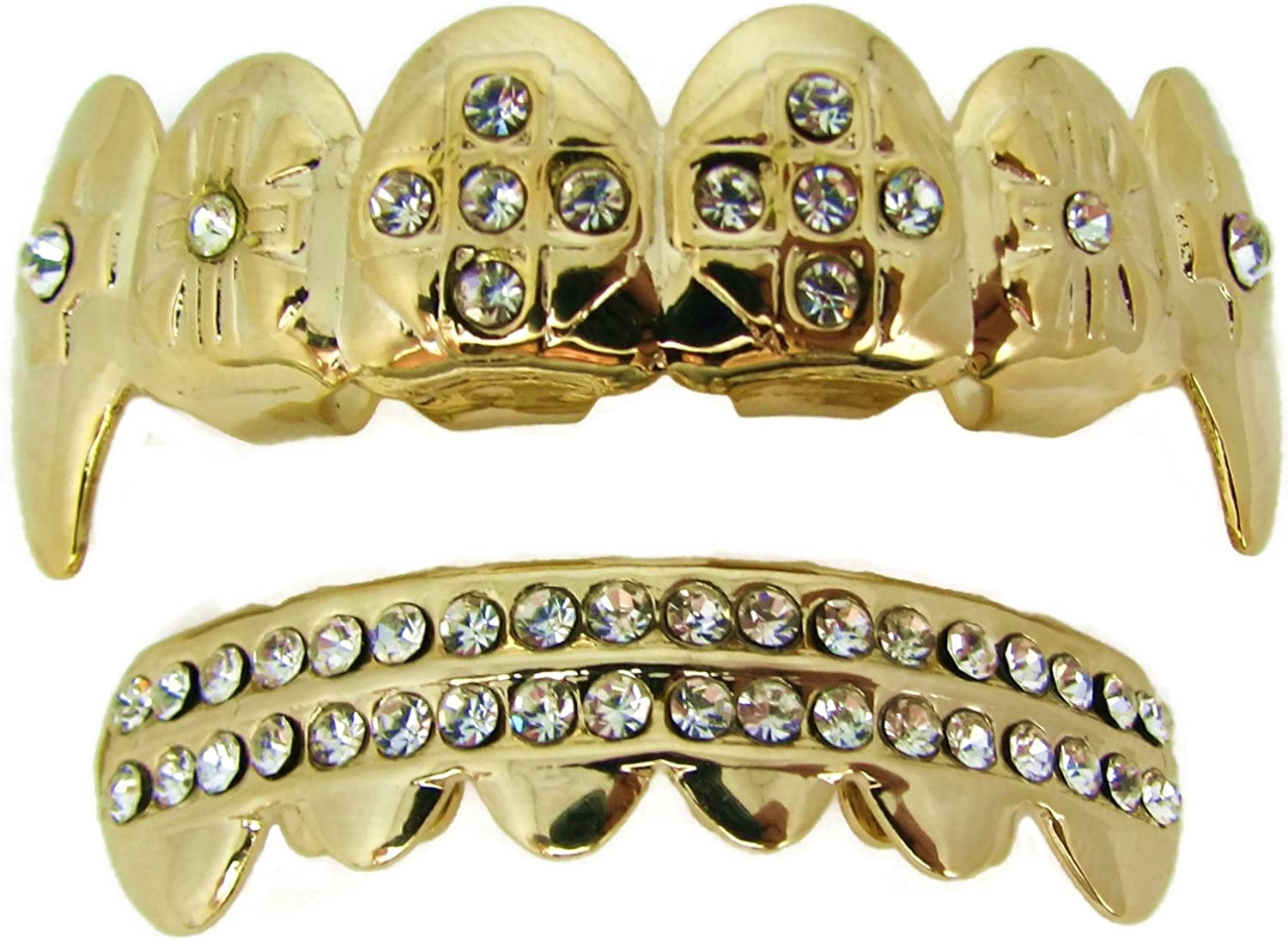 Gold Plated Vampire Fang Teeth Cross Grillz Top and Bottom Grills Set