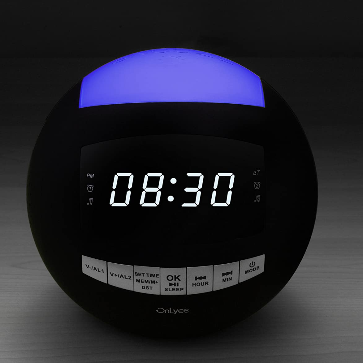 Alarm Clock Radio, Bluetooth Clock, AM FM Radio,USB Chargers, AUX-in, 7 Colored Night Light, Slider Dimmer, Dual Alarms, Sleep Timer, Big Snooze for Bedrooms, Desk, Heavy Sleepers, Kids