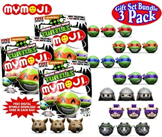 Funko Teenage Mutant Ninja Turtles (TMNT) Mymoji Mini Vinyl Action Figure Mystery Blind Bags Gift Set Party Bundle - 3 Pack (Assorted)