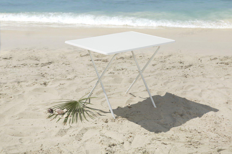 greemotion Scherentisch in weiß, Gartentisch 60 x 80 cm, Balkontisch klappbar, Beistelltisch mit Holz Kunststoff Sevelit Tischplatte, Kleiner Tisch