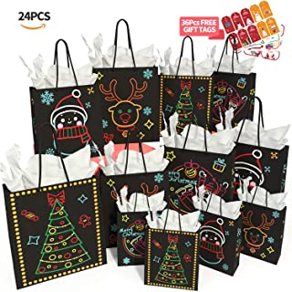 Christmas Gift Bags Glow in Dark Design 24 Piece 12Bags in 4  Different Designs, 4 Large, 4 Medium, 4 Small & 12 Tissue Papers and 36 Pcs Christmas Gift Tags for Christmas Holiday Party