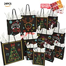 Christmas Gift Bags Glow in Dark Design 24Piece 12Bags in 4 Different Designs, 4 Large, 4 Medium, 4Small & 12 Tissue Papers and36Pcs Christmas GiftTags for Christmas Holiday Party