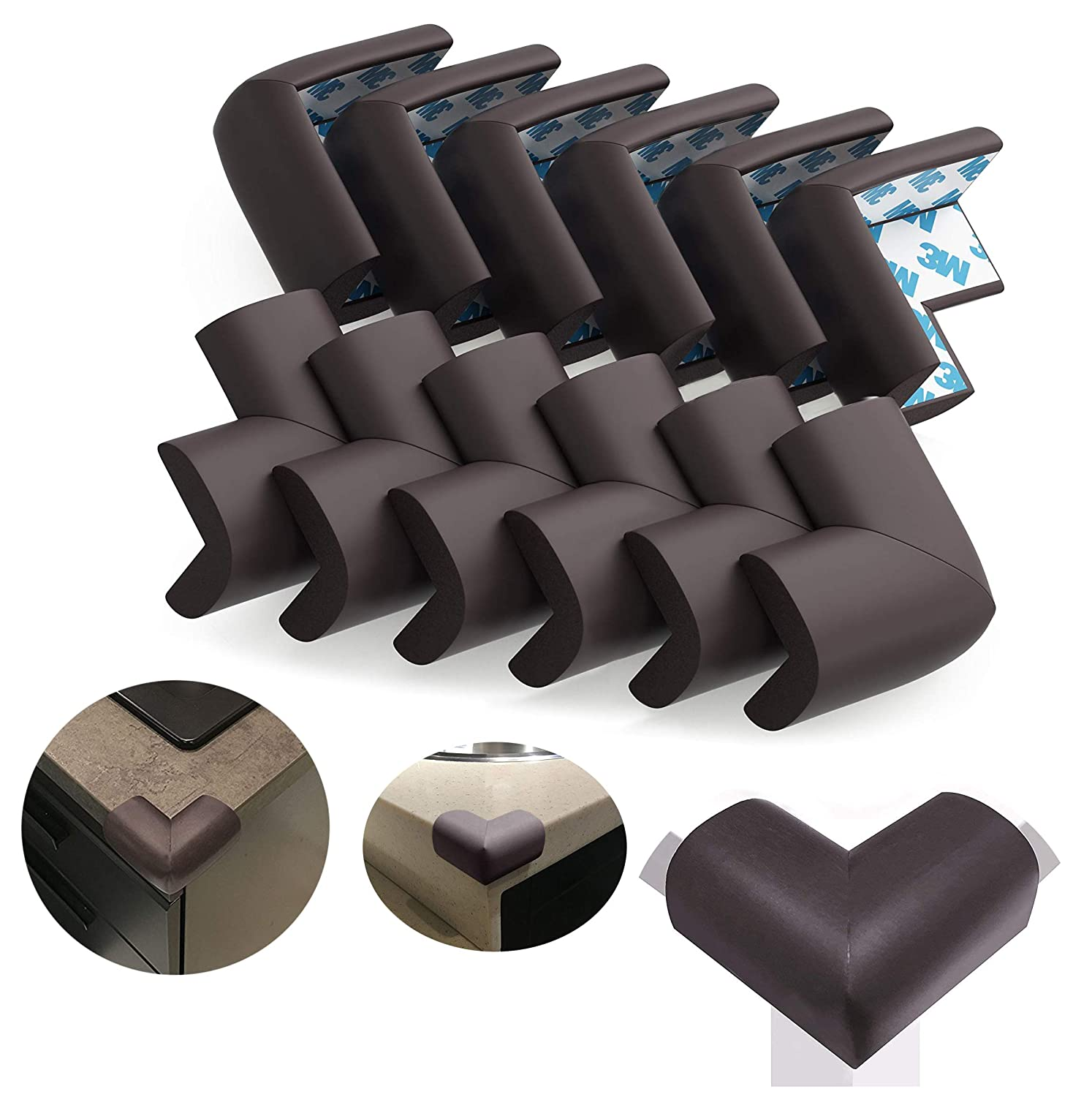 HengKe Soft Baby Proofing Corner Guards Edge Protectors,12 Piece Safety Corner Cushion,Brown Child Proofing Corner Guard Child Safety, Home Furniture Safety Bumper, Baby Proof Table Protector