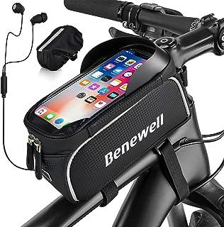 "Bike Bag, Waterproof Miracle Bike Bag for Handlebar with 6.5"" Transparent Touch Screen Top Tube..."