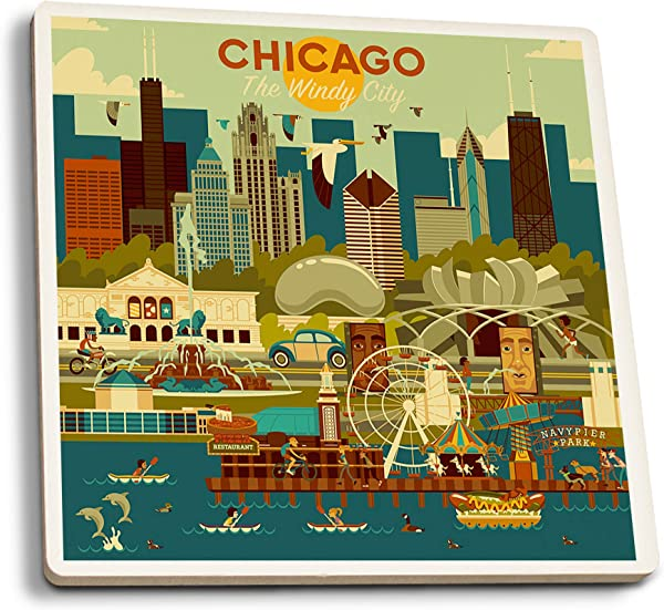 Lantern Press Chicago Illinois Geometric Set Of 4 Ceramic Coasters Cork Backed Absorbent