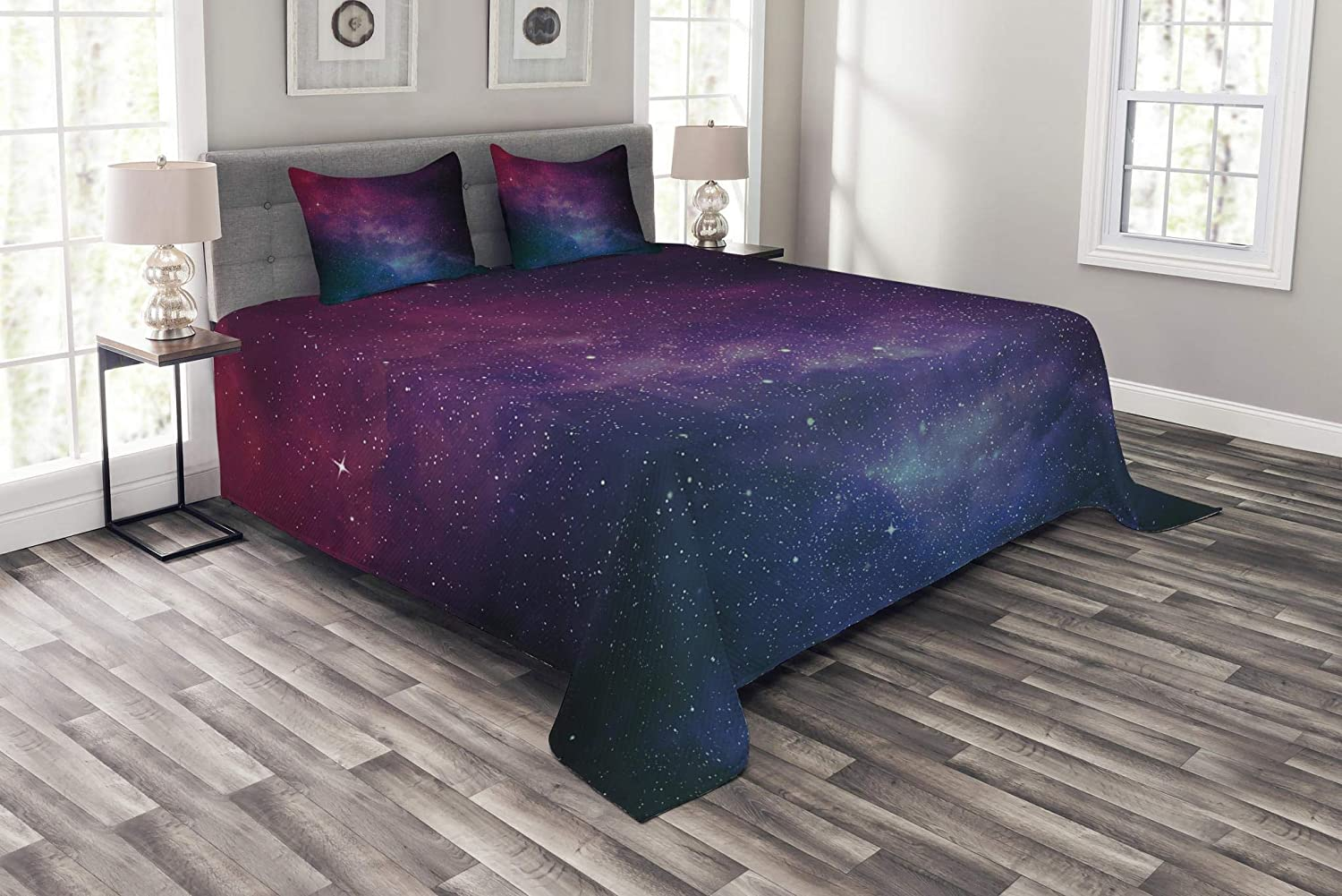 Lunarable Star Bedspread Set King Size, Universe Filled with Stars Pale Ombre Nebula and Galaxy Interstellar Astronomy, Decorative Quilted 3 Piece Coverlet Set with 2 Pillow Shams, Magenta bluee Black
