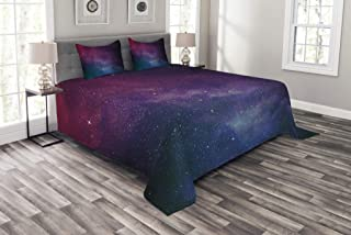 Lunarable Star Bedspread Set Queen Size, Universe Filled with Stars Pale Ombre Nebula and Galaxy Interstellar Astronomy, Decorative Quilted 3 Piece Coverlet Set with 2 Pillow Shams, Magenta Blue Black