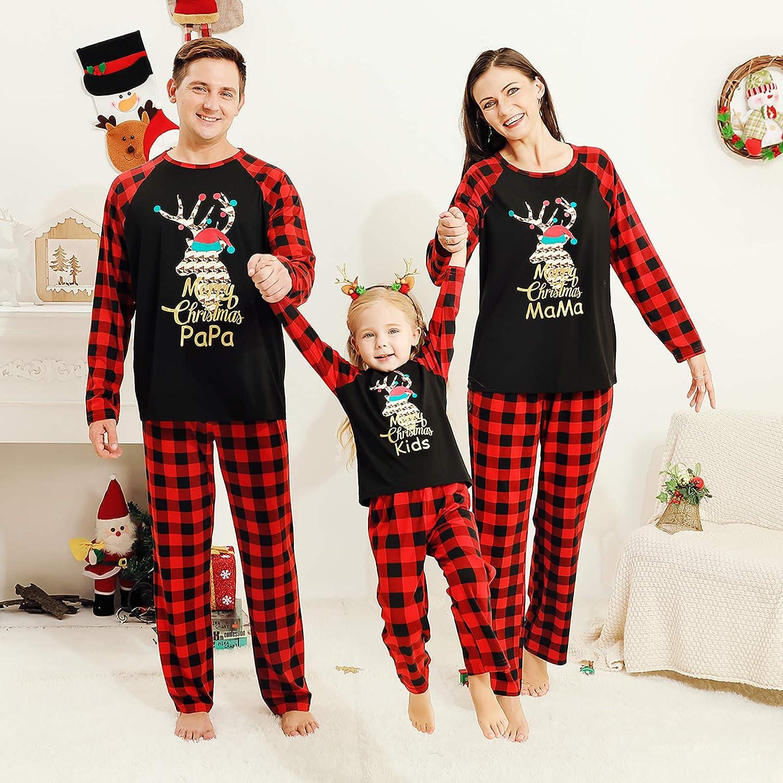 SOONHUA Family Pigiama abbinato set Classico plaid di Natale con alce morbido abbinato PJ di Natale per famiglia