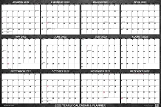 """SwiftGlimpse 2022 Wall Calendar, 24"""" x 36"""" Designer Series, Large, Erasable, Yearly Wall Planner (Chalkboard)"""