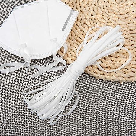Elastic Strap Stretch Rope Ear Band Loop Cord Ear Tie Rope Handmade String Length Braided Heavy Stretch High Elasticity for Knit Sewing Crafts DIY Bedspread Cuff Nylon White 5mm Flat 10.9 Yards