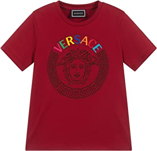 Versace Kids Boy's Short Sleeve T-Shirt with Embroidered Logo (Big Kids)