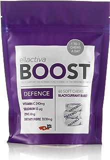 ELLACTIVA BOOST DEFENCE BLACKCURRANT BURST | 60 SOFT CHEWS | Immunity Booster made in Switzerland | with Vitamin C, Zinc, ...
