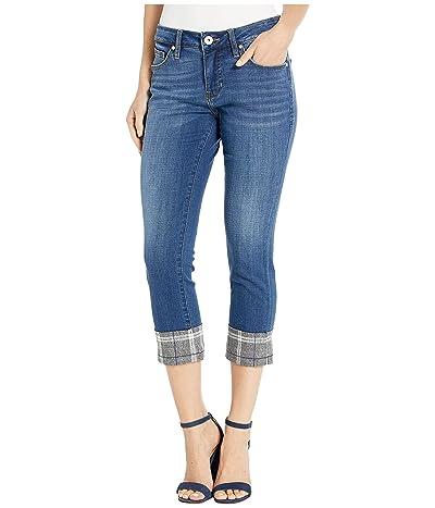 Jag Jeans Petite Petite Carter Girlfriend Jeans with Plaid Cuff (Brilliant Blue) Women