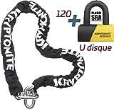 Kryptonite Intouchable 120 Diebstahlsicherung U + Kette für Erwachsene, Unisex,