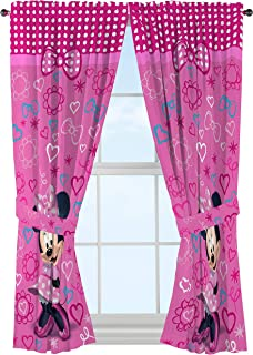 Disney Minnie Mouse Window Panels Curtains Drapes Pink Bow-tique, 42