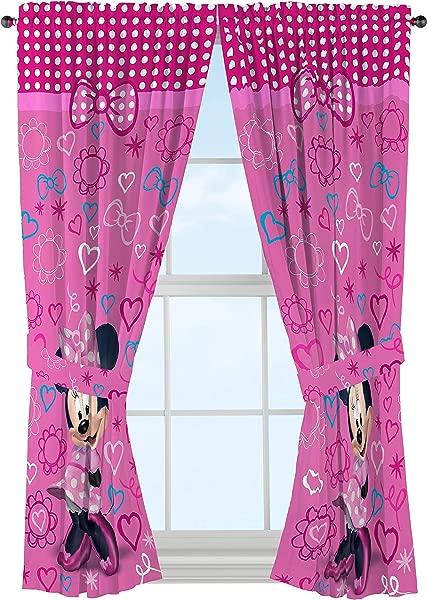 Disney Minnie Mouse Window Panels Curtains Drapes Pink Bow Tique 42 X 63 Each