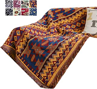 Southwestern Throw Blanket for Couch, Soft Woven Cotton Jacquard Tassels Throw Blankets for Bed Couch Sofa Chair Slipcover Bedspreads Knitted Rug Bed Boho Couch Protector Case for Home Office Decor