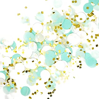 Premium 1-inch Round Tissue Paper Party Table Confetti - 50 Grams (Mint, White, Gold Mylar Flakes)