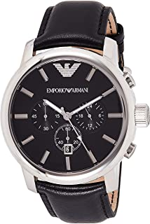 Emporio AR0431 Armani Gents Stainless Steel Chronograph Watch with Black Leather Strap