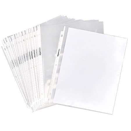 """Amazon Basics Clear Sheet Protector for 3 Ring Binder, 8.5"""" x 11"""" - 100-Pack"""