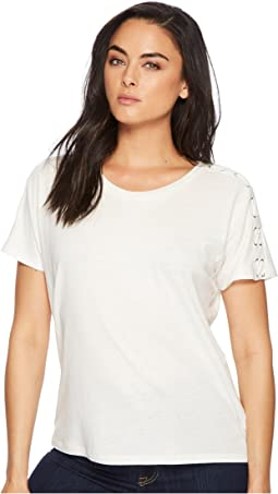 Lace-Up Linen-Jersey Top