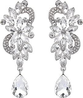 Women's Bohemian Boho Crystal Flower Wedding Bridal Chandelier Teardrop Bling Dangle Earrings